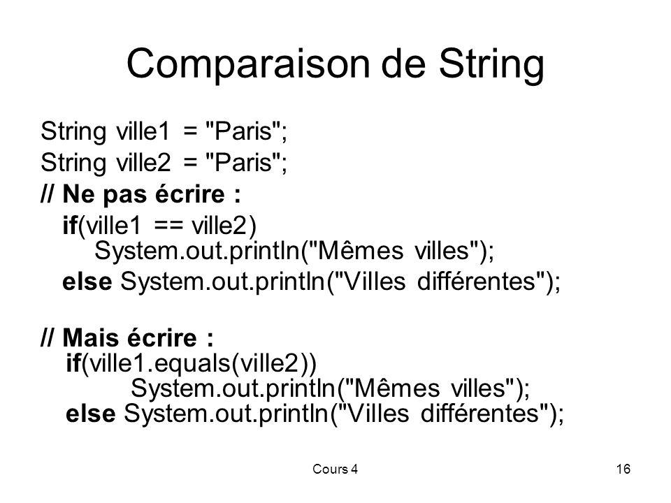 Cours 416 Comparaison de String String ville1 = Paris ; String ville2 = Paris ; // Ne pas écrire : if(ville1 == ville2) System.out.println( Mêmes villes ); else System.out.println( Villes différentes ); // Mais écrire : if(ville1.equals(ville2)) System.out.println( Mêmes villes ); else System.out.println( Villes différentes );