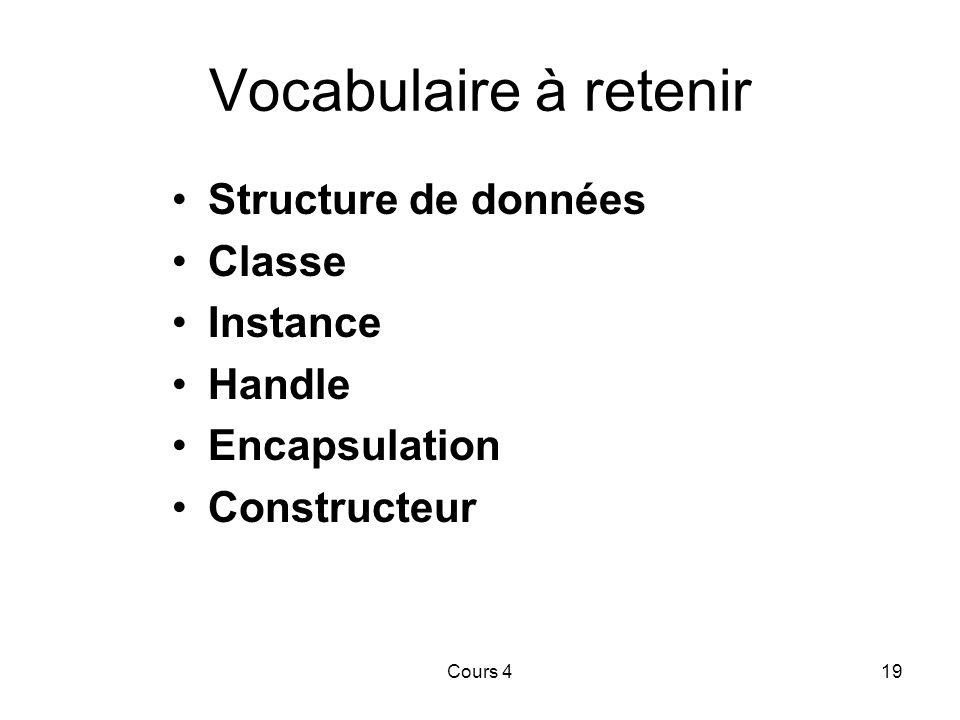 Cours 419 Vocabulaire à retenir Structure de données Classe Instance Handle Encapsulation Constructeur