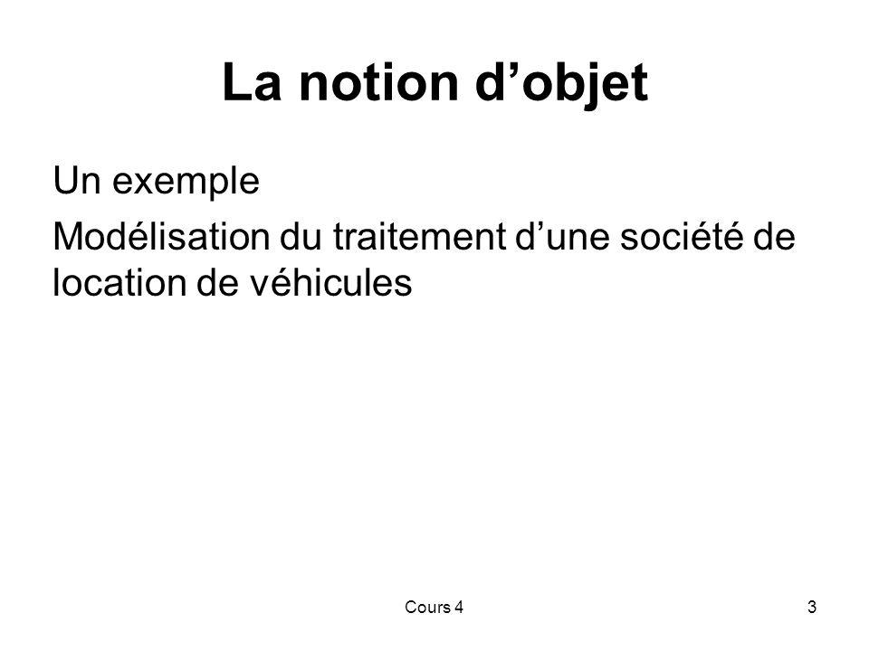 Cours 43 La notion d'objet Un exemple Modélisation du traitement d'une société de location de véhicules