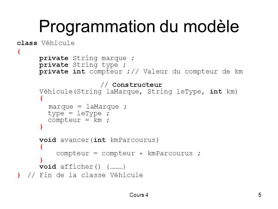 Cours 45 Programmation du modèle class Véhicule { private String marque ; private String type ; private int compteur ;// Valeur du compteur de km // Constructeur Véhicule(String laMarque, String leType, int km) { marque = laMarque ; type = leType ; compteur = km ; } void avancer(int kmParcourus) { compteur = compteur + kmParcourus ; } void afficher() {………} }// Fin de la classe Véhicule