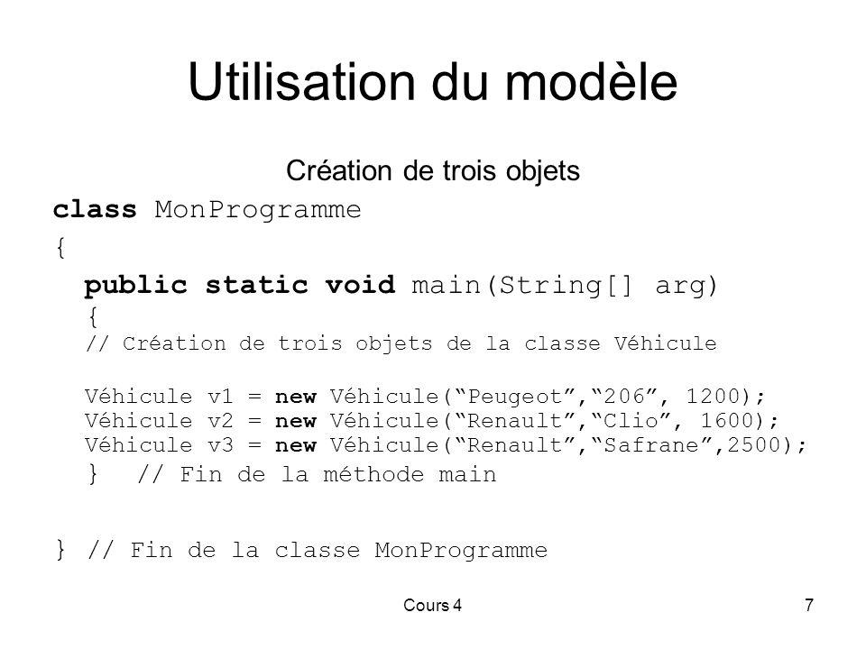 Cours 47 Utilisation du modèle Création de trois objets class MonProgramme { public static void main(String[] arg) { // Création de trois objets de la classe Véhicule Véhicule v1 = new Véhicule( Peugeot , 206 , 1200); Véhicule v2 = new Véhicule( Renault , Clio , 1600); Véhicule v3 = new Véhicule( Renault , Safrane ,2500); } // Fin de la méthode main } // Fin de la classe MonProgramme