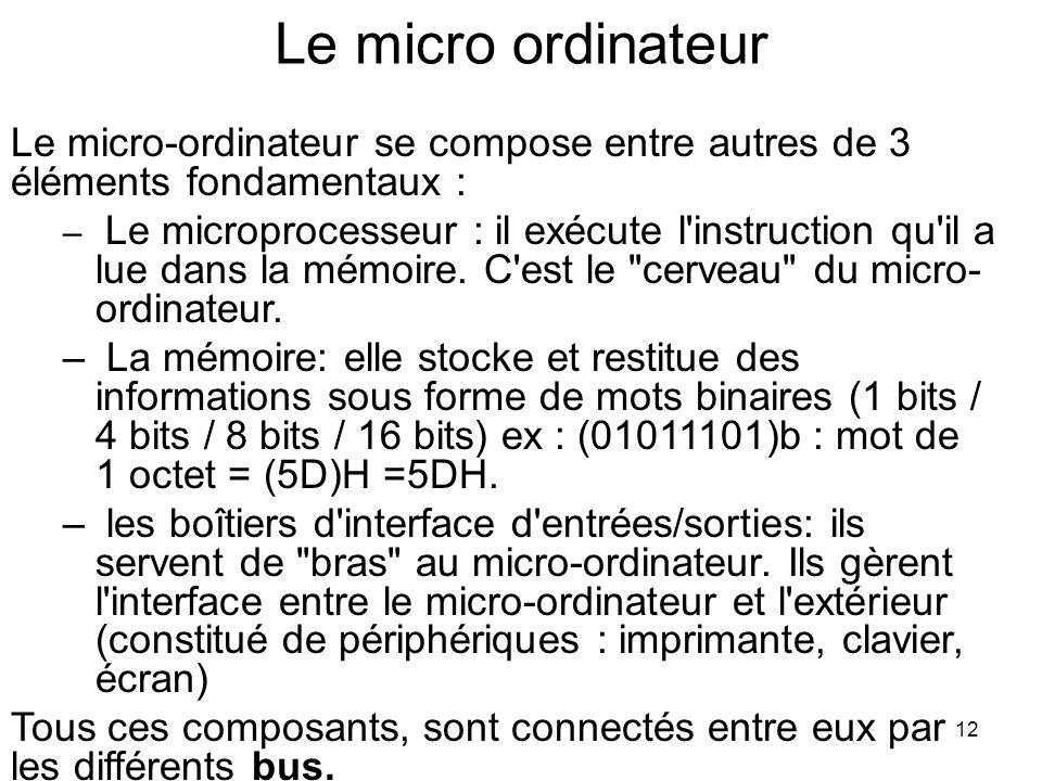 12 Le micro ordinateur Le micro-ordinateur se compose entre autres de 3 éléments fondamentaux : – Le microprocesseur : il exécute l'instruction qu'il