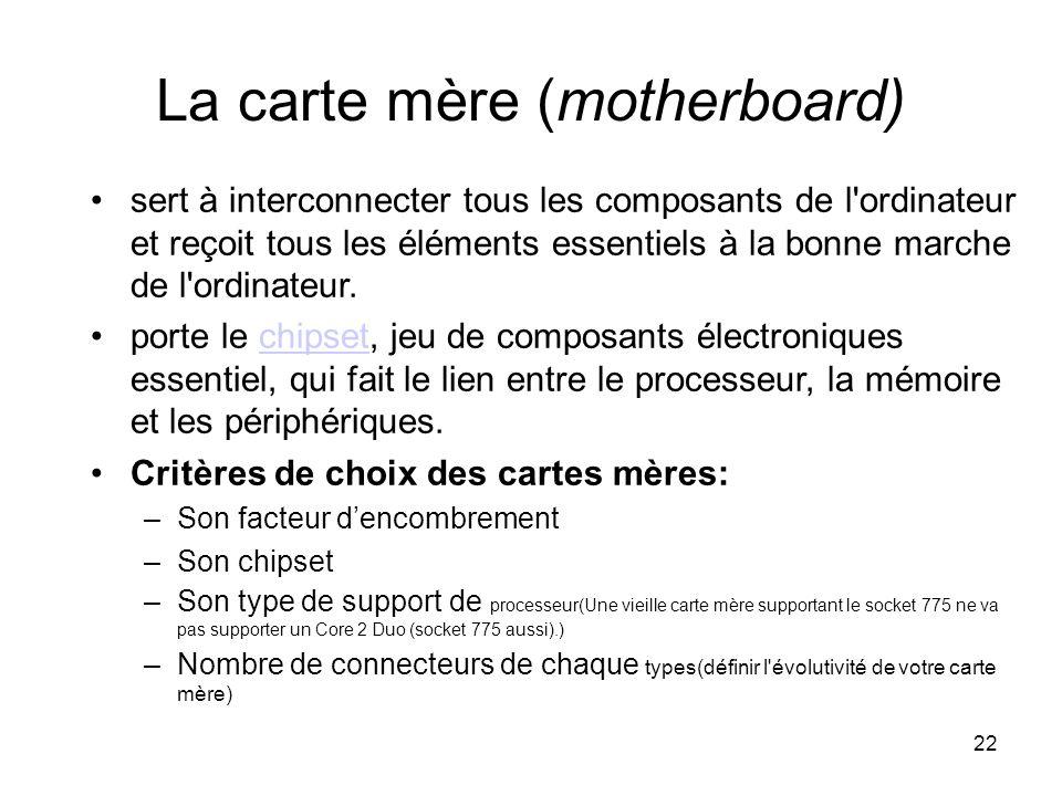 22 La carte mère (motherboard) sert à interconnecter tous les composants de l'ordinateur et reçoit tous les éléments essentiels à la bonne marche de l