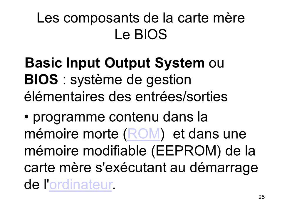 25 Les composants de la carte mère Le BIOS Basic Input Output System ou BIOS : système de gestion élémentaires des entrées/sorties programme contenu d