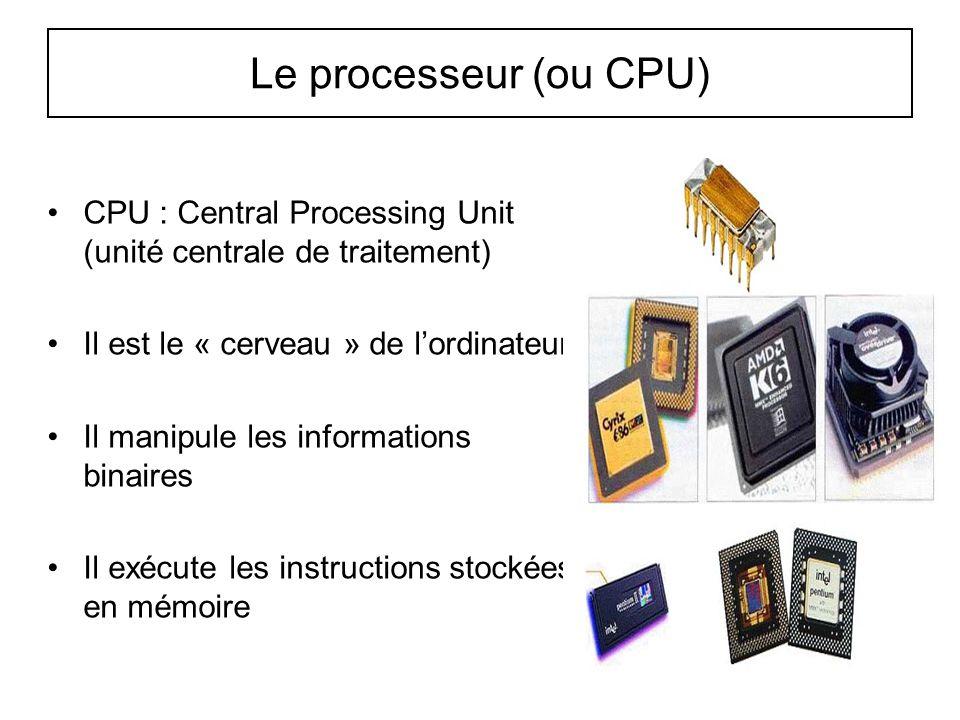29 Le processeur (ou CPU) CPU : Central Processing Unit (unité centrale de traitement) Il est le « cerveau » de l'ordinateur Il manipule les informati