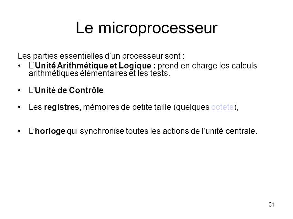 31 Le microprocesseur Les parties essentielles d'un processeur sont : L'Unité Arithmétique et Logique : prend en charge les calculs arithmétiques élém