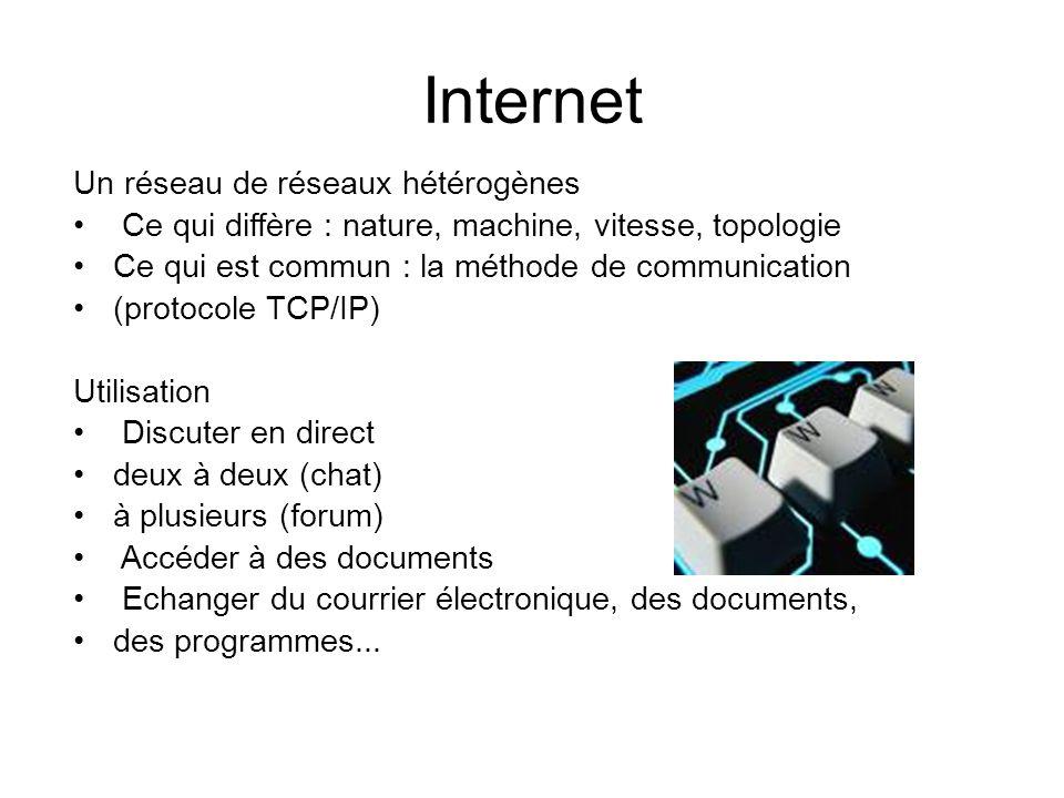 Internet Un réseau de réseaux hétérogènes Ce qui diffère : nature, machine, vitesse, topologie Ce qui est commun : la méthode de communication (protoc