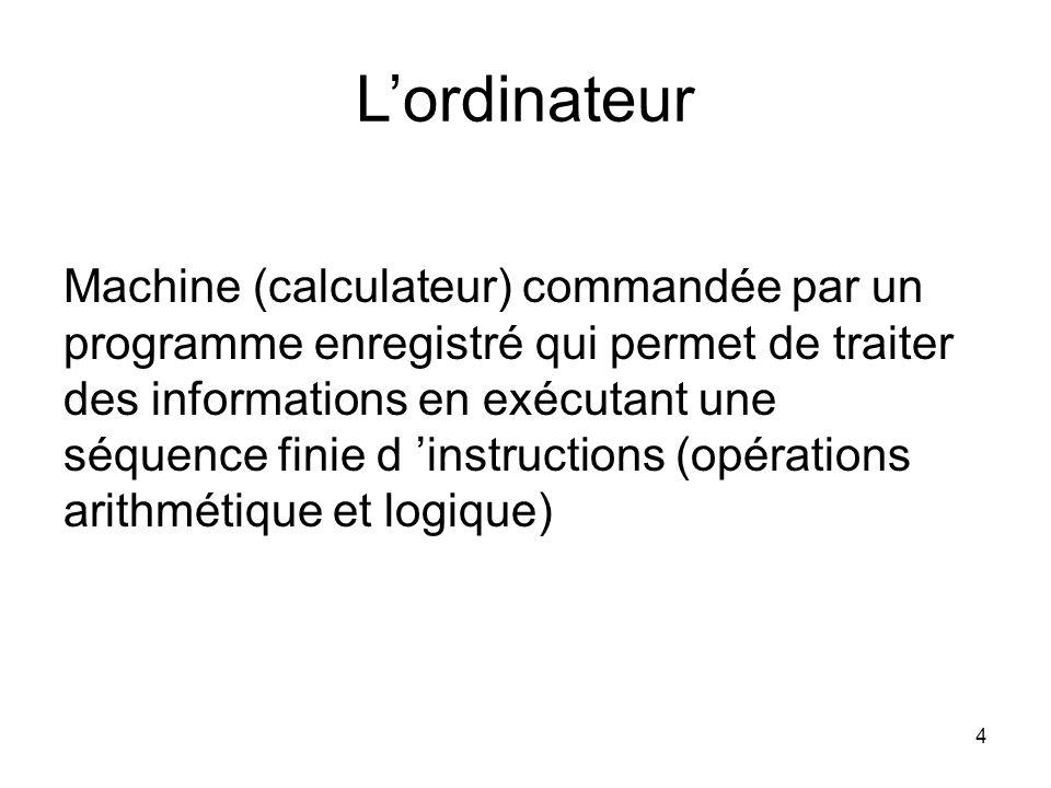 4 L'ordinateur Machine (calculateur) commandée par un programme enregistré qui permet de traiter des informations en exécutant une séquence finie d 'i