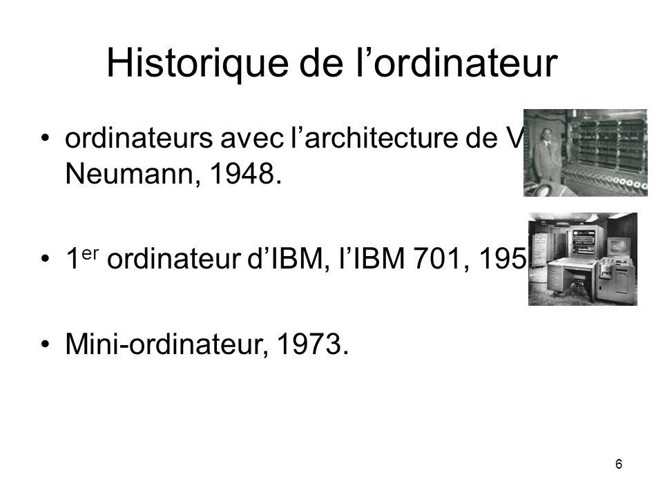 6 Historique de l'ordinateur ordinateurs avec l'architecture de Van Neumann, 1948. 1 er ordinateur d'IBM, l'IBM 701, 1952. Mini-ordinateur, 1973.