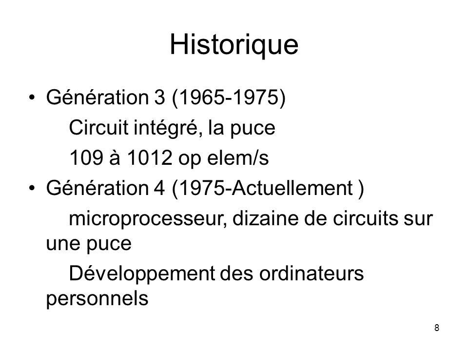8 Historique Génération 3 (1965-1975) Circuit intégré, la puce 109 à 1012 op elem/s Génération 4 (1975-Actuellement ) microprocesseur, dizaine de circ