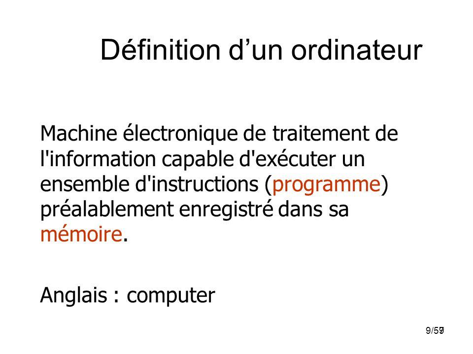 99/57 Définition d'un ordinateur Machine électronique de traitement de l'information capable d'exécuter un ensemble d'instructions (programme) préalab