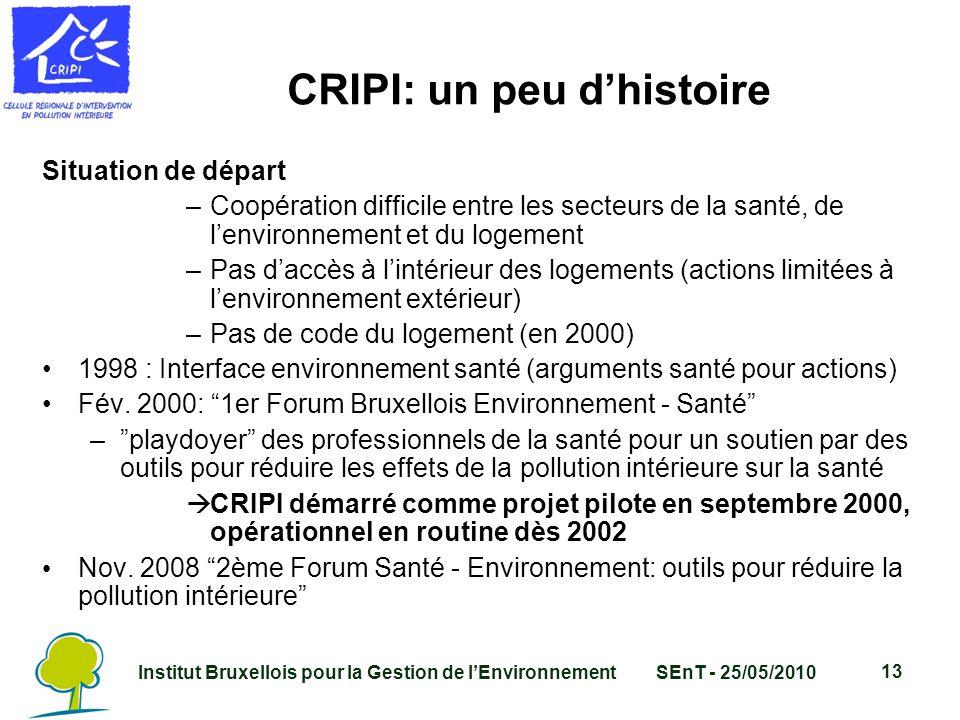 Institut Bruxellois pour la Gestion de l'EnvironnementSEnT - 25/05/2010 13 CRIPI: un peu d'histoire Situation de départ –Coopération difficile entre les secteurs de la santé, de l'environnement et du logement –Pas d'accès à l'intérieur des logements (actions limitées à l'environnement extérieur) –Pas de code du logement (en 2000) 1998 : Interface environnement santé (arguments santé pour actions) Fév.