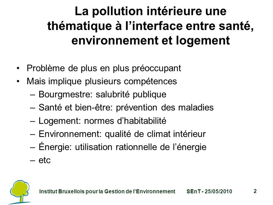 Institut Bruxellois pour la Gestion de l'EnvironnementSEnT - 25/05/2010 2 La pollution intérieure une thématique à l'interface entre santé, environnement et logement Problème de plus en plus préoccupant Mais implique plusieurs compétences –Bourgmestre: salubrité publique –Santé et bien-être: prévention des maladies –Logement: normes d'habitabilité –Environnement: qualité de climat intérieur –Énergie: utilisation rationnelle de l'énergie –etc