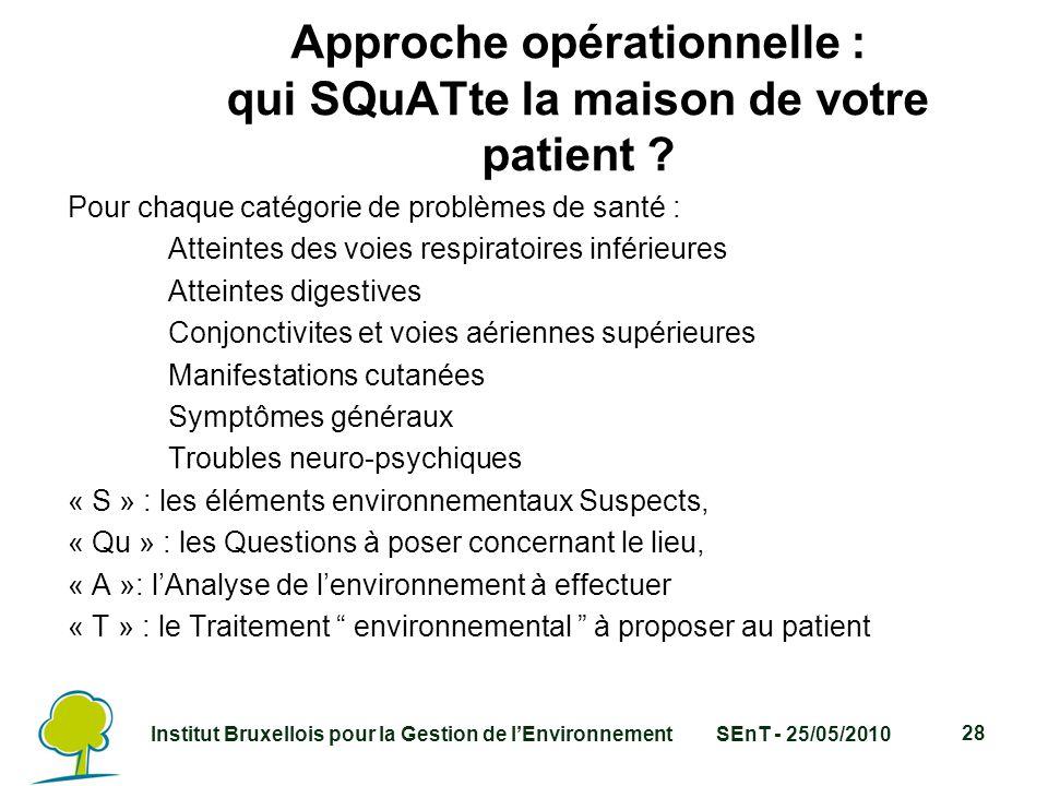 Institut Bruxellois pour la Gestion de l'EnvironnementSEnT - 25/05/2010 28 Approche opérationnelle : qui SQuATte la maison de votre patient .