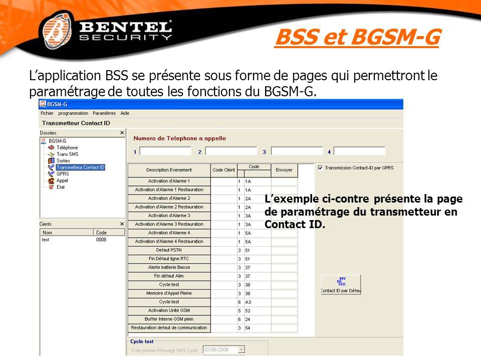 L'application BSS se présente sous forme de pages qui permettront le paramétrage de toutes les fonctions du BGSM-G. L'exemple ci-contre présente la pa
