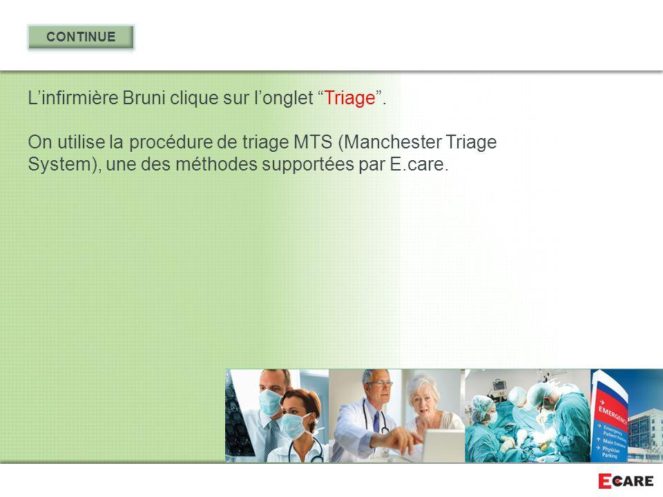"""L'infirmière Bruni clique sur l'onglet """"Triage"""". On utilise la procédure de triage MTS (Manchester Triage System), une des méthodes supportées par E.c"""