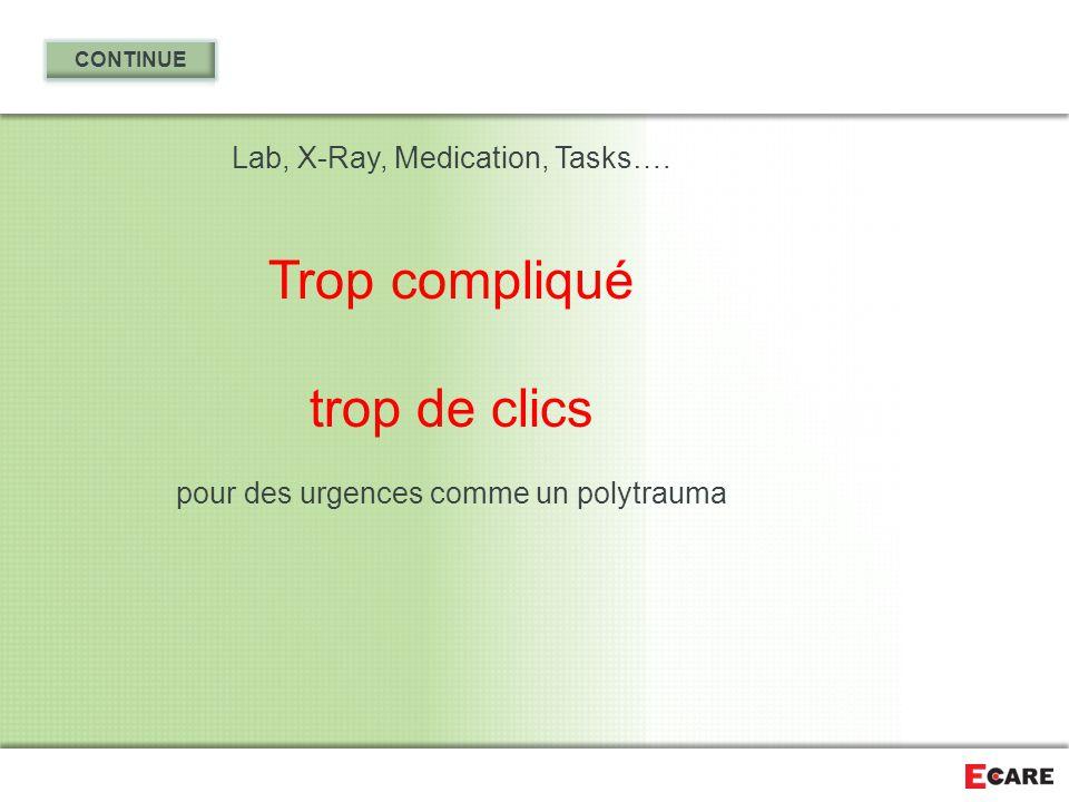 Lab, X-Ray, Medication, Tasks…. Trop compliqué trop de clics pour des urgences comme un polytrauma