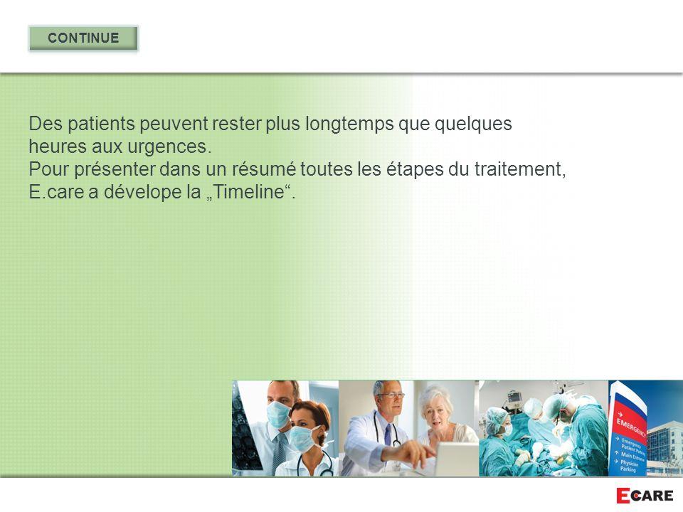 Des patients peuvent rester plus longtemps que quelques heures aux urgences. Pour présenter dans un résumé toutes les étapes du traitement, E.care a d
