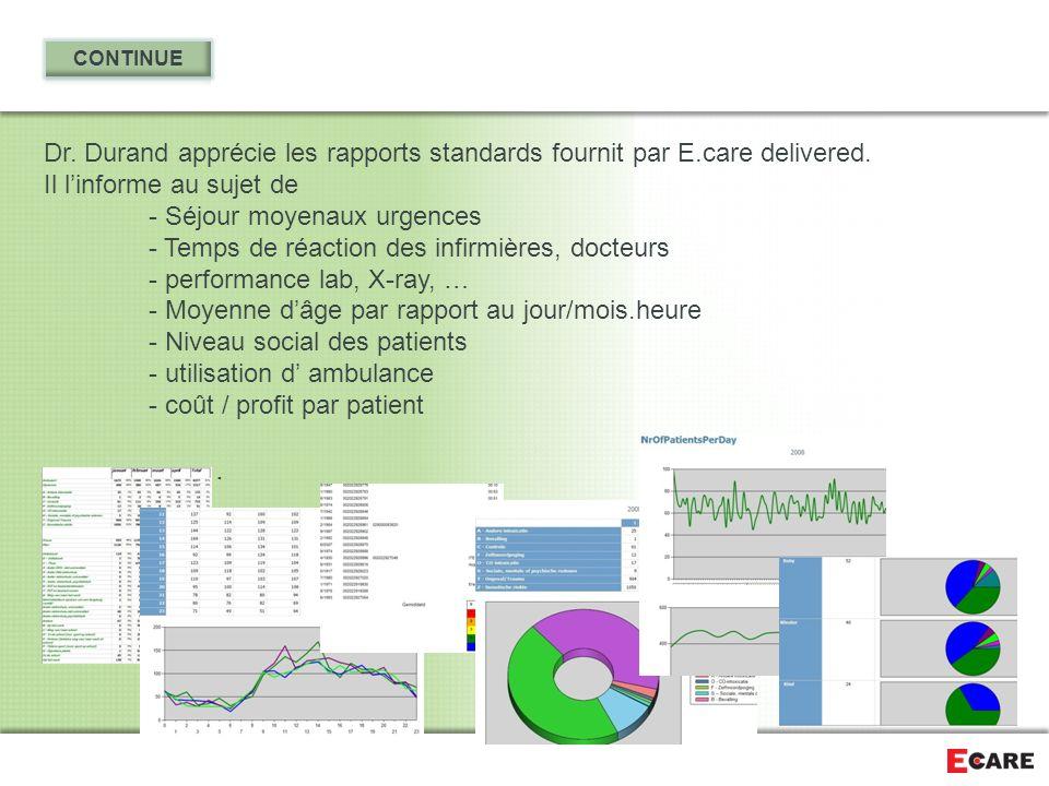 Dr. Durand apprécie les rapports standards fournit par E.care delivered. Il l'informe au sujet de - Séjour moyenaux urgences - Temps de réaction des i