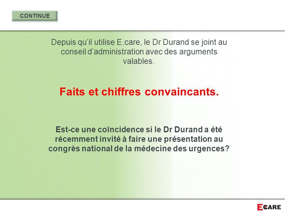 Depuis qu'il utilise E.care, le Dr Durand se joint au conseil d'administration avec des arguments valables. Faits et chiffres convaincants. Est-ce une