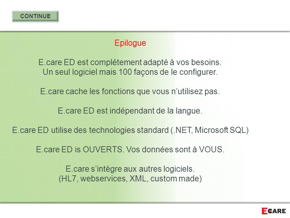 Epilogue E.care ED est complétement adapté à vos besoins. Un seul logiciel mais 100 façons de le configurer. E.care cache les fonctions que vous n'uti