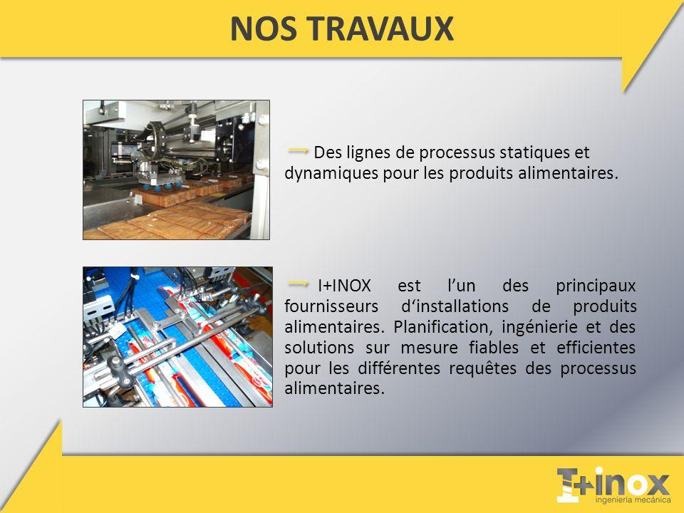 NOS TRAVAUX Des lignes de processus statiques et dynamiques pour les produits alimentaires.