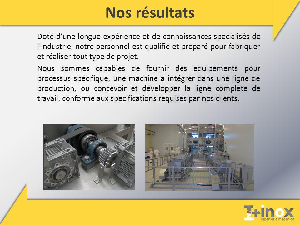 Nos résultats Doté d'une longue expérience et de connaissances spécialisés de l industrie, notre personnel est qualifié et préparé pour fabriquer et réaliser tout type de projet.