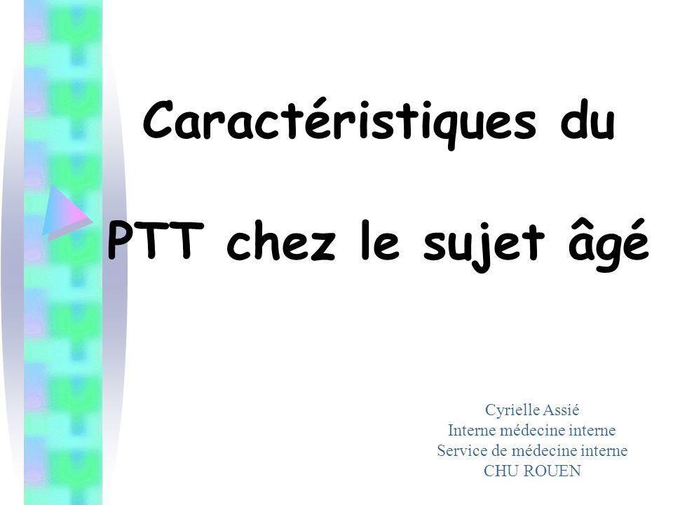 La littérature… Pas d'études publiées hormis … Un cas fatal de PTT à 70 ans (Scheiflinger, Blood 2003) –Fonction rénale normale .