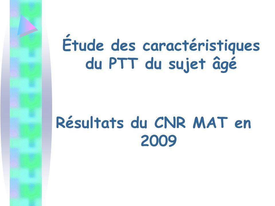 Résultats du CNR MAT en 2009 Étude des caractéristiques du PTT du sujet âgé