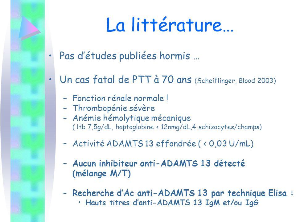 La littérature… Pas d'études publiées hormis … Un cas fatal de PTT à 70 ans (Scheiflinger, Blood 2003) –Fonction rénale normale ! –Thrombopénie sévère