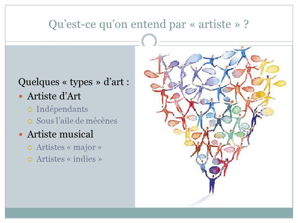 Qu'est-ce qu'on entend par « artiste » ? Quelques « types » d'art : Artiste d'Art  Indépendants  Sous l'aile de mécènes Artiste musical  Artistes «