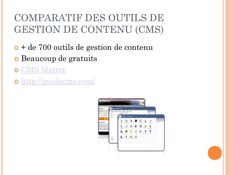 COMPARATIF DES OUTILS DE GESTION DE CONTENU (CMS) + de 700 outils de gestion de contenu Beaucoup de gratuits CMS Matrix http://guidecms.com/
