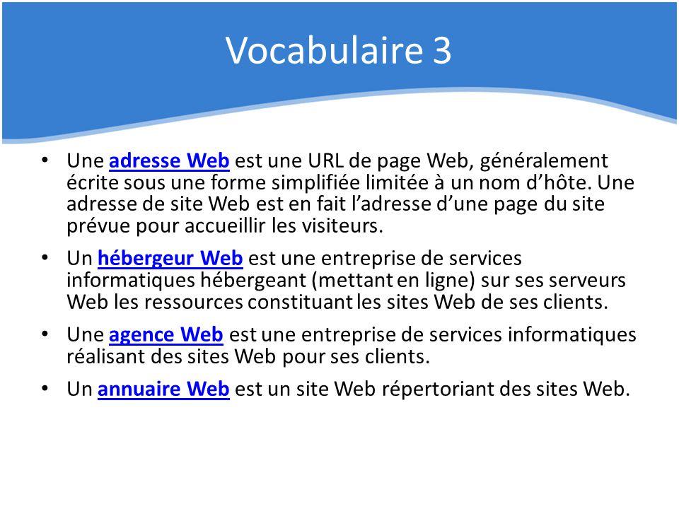 Vocabulaire 3 Une adresse Web est une URL de page Web, généralement écrite sous une forme simplifiée limitée à un nom d'hôte. Une adresse de site Web