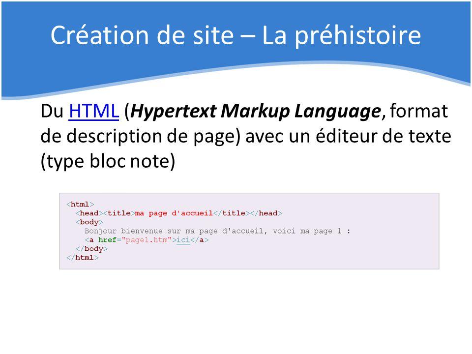 Création de site – La préhistoire Du HTML (Hypertext Markup Language, format de description de page) avec un éditeur de texte (type bloc note)HTML