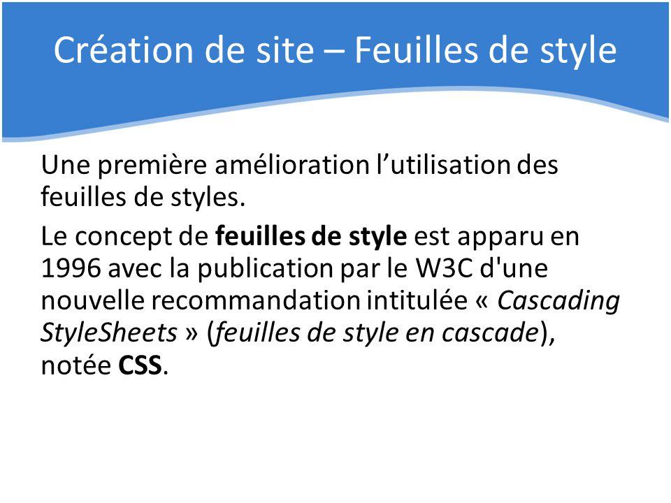 Création de site – Feuilles de style Une première amélioration l'utilisation des feuilles de styles. Le concept de feuilles de style est apparu en 199