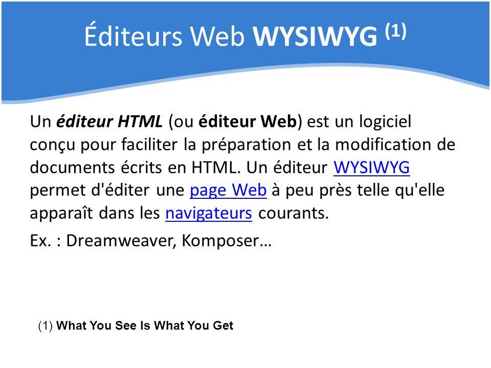 Éditeurs Web WYSIWYG (1) Un éditeur HTML (ou éditeur Web) est un logiciel conçu pour faciliter la préparation et la modification de documents écrits e