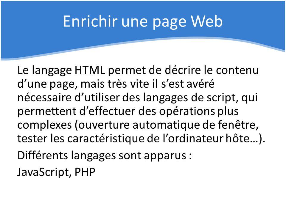 Enrichir une page Web Le langage HTML permet de décrire le contenu d'une page, mais très vite il s'est avéré nécessaire d'utiliser des langages de scr