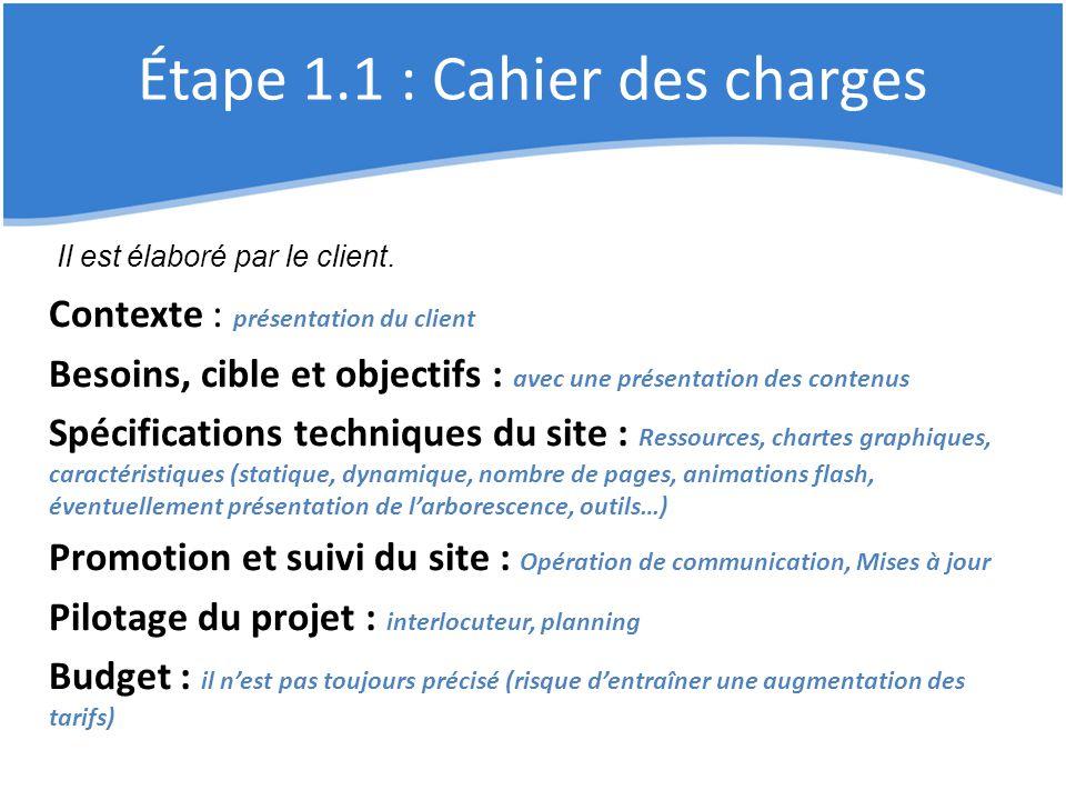 Étape 1.1 : Cahier des charges Contexte : présentation du client Besoins, cible et objectifs : avec une présentation des contenus Spécifications techn