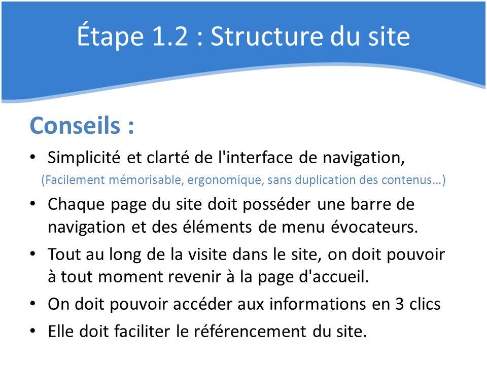 Étape 1.2 : Structure du site Conseils : Simplicité et clarté de l'interface de navigation, (Facilement mémorisable, ergonomique, sans duplication des