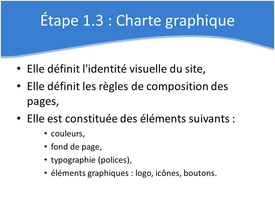 Étape 1.3 : Charte graphique Elle définit l'identité visuelle du site, Elle définit les règles de composition des pages, Elle est constituée des éléme