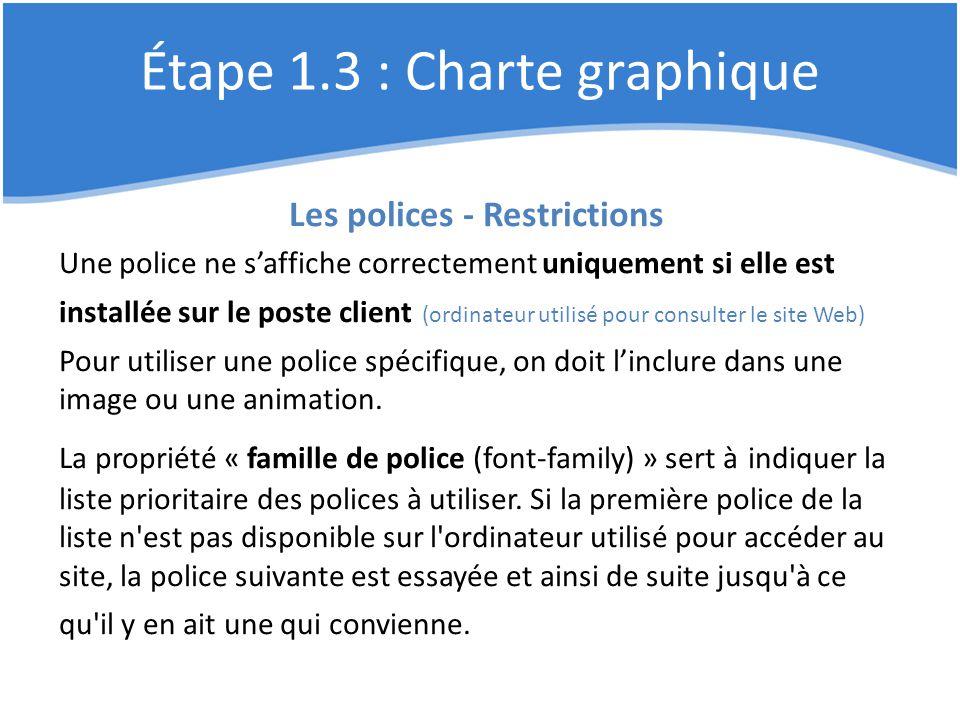 Étape 1.3 : Charte graphique Les polices - Restrictions Une police ne s'affiche correctement uniquement si elle est installée sur le poste client (ord