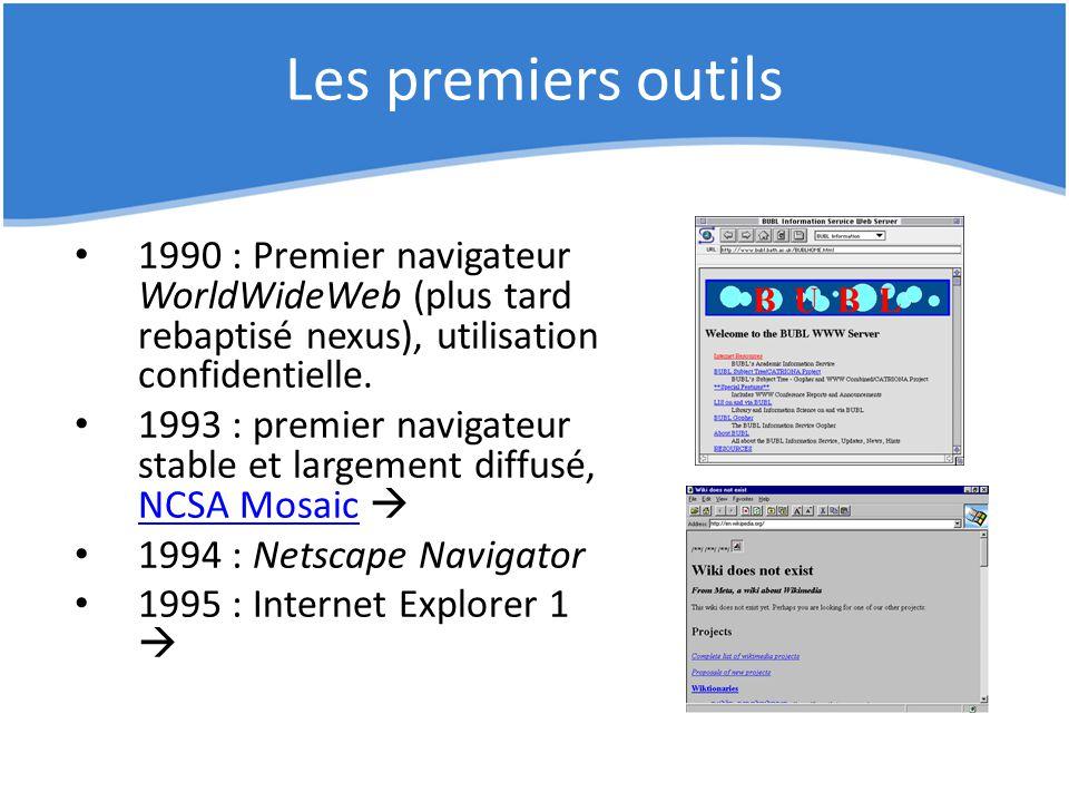 Les premiers outils 1990 : Premier navigateur WorldWideWeb (plus tard rebaptisé nexus), utilisation confidentielle. 1993 : premier navigateur stable e