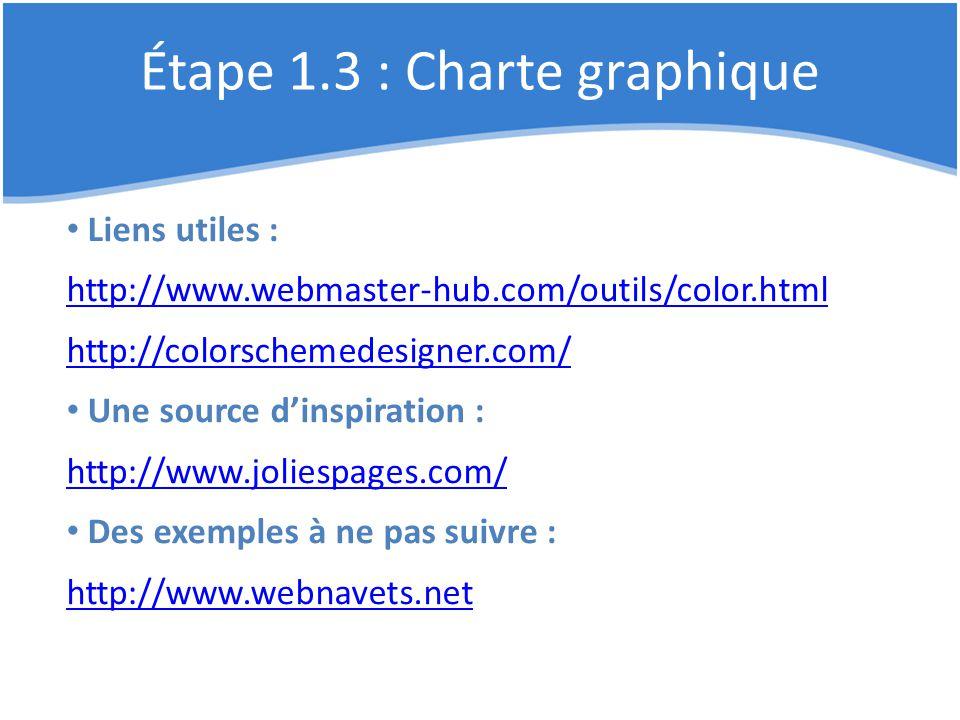 Étape 1.3 : Charte graphique Liens utiles : http://www.webmaster-hub.com/outils/color.html http://colorschemedesigner.com/ Une source d'inspiration :