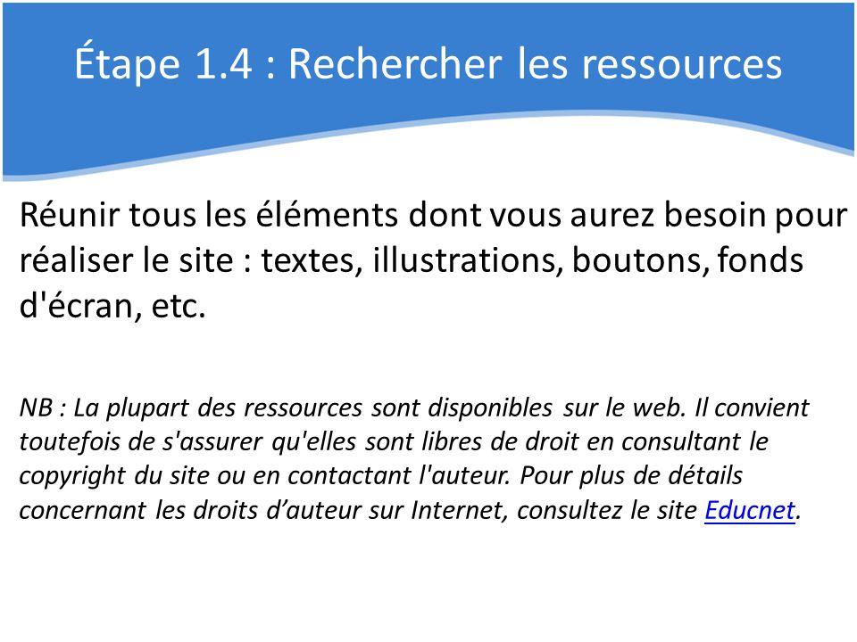 Étape 1.4 : Rechercher les ressources Réunir tous les éléments dont vous aurez besoin pour réaliser le site : textes, illustrations, boutons, fonds d'