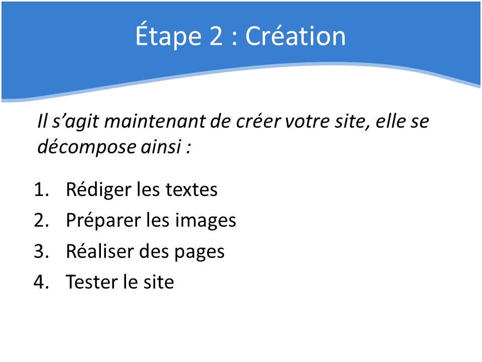 Étape 2 : Création Il s'agit maintenant de créer votre site, elle se décompose ainsi : 1.Rédiger les textes 2.Préparer les images 3.Réaliser des pages