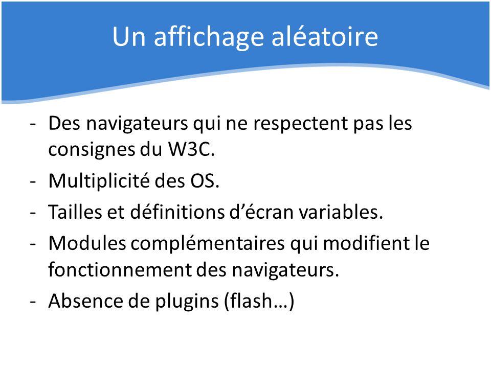 Un affichage aléatoire -Des navigateurs qui ne respectent pas les consignes du W3C. -Multiplicité des OS. -Tailles et définitions d'écran variables. -