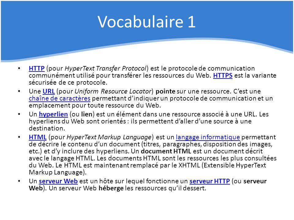 Vocabulaire 1 HTTP (pour HyperText Transfer Protocol) est le protocole de communication communément utilisé pour transférer les ressources du Web. HTT