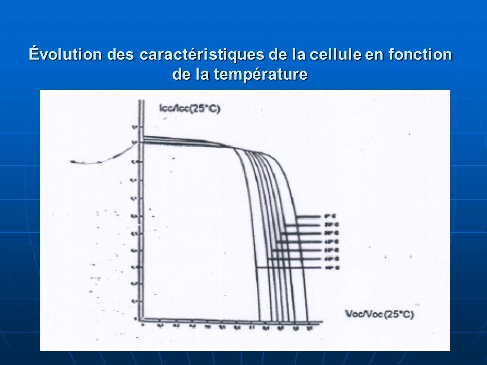 Évolution des caractéristiques de la cellule en fonction de la température