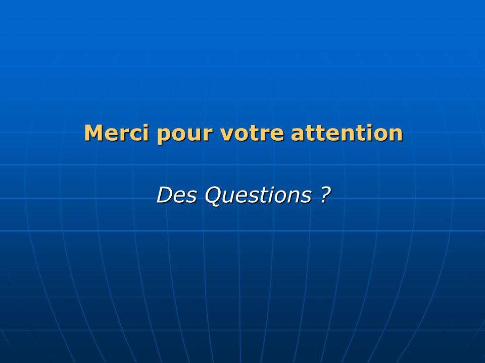 Merci pour votre attention Des Questions ?