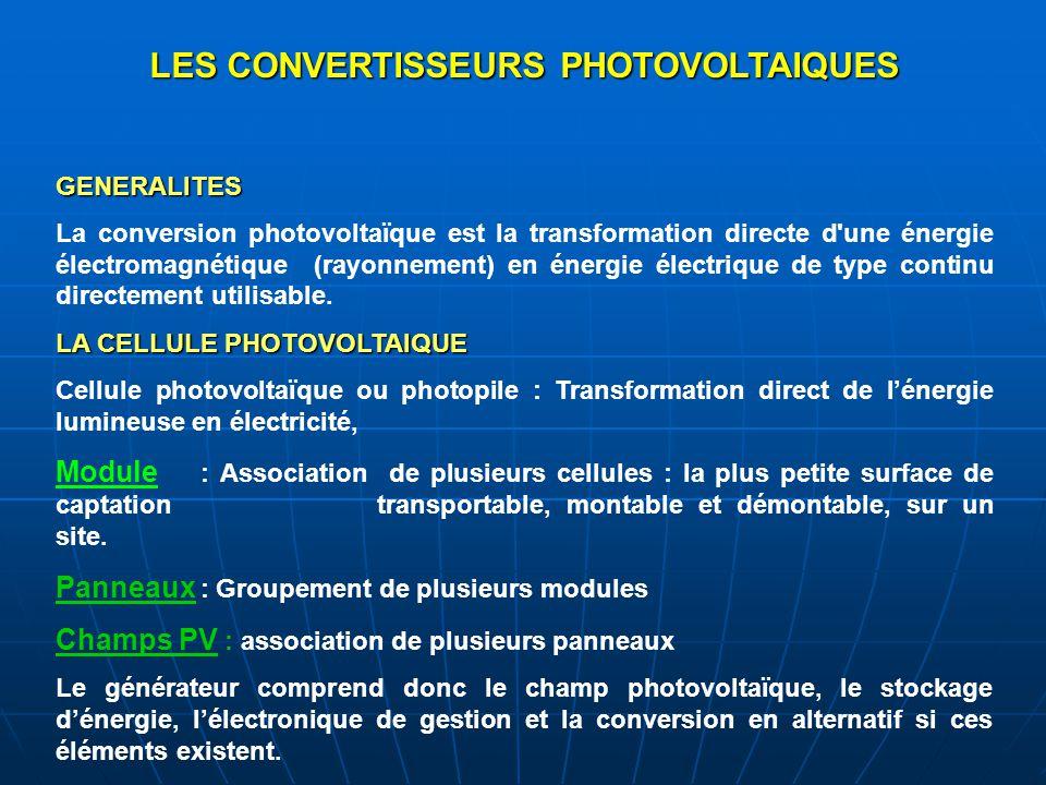 LES CONVERTISSEURS PHOTOVOLTAIQUES GENERALITES La conversion photovoltaïque est la transformation directe d'une énergie électromagnétique (rayonnement